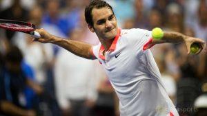 Federer and Dimitrov Watching Sharapova in Locker Room